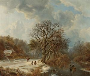 Famous paintings of Ice skating: A Forest And River Landscape In Winter With Skaters And Villagers On A Path