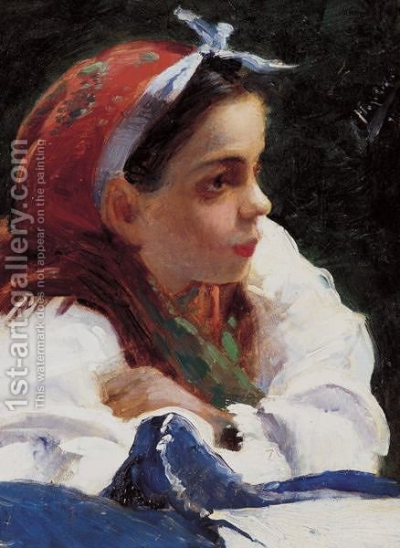 Portrait Of A Young Girl by Aleksandr Vladimirovich Makovsky - Reproduction Oil Painting