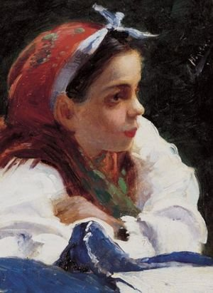 Reproduction oil paintings - Aleksandr Vladimirovich Makovsky - Portrait Of A Young Girl