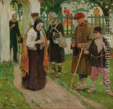 Leaving Church by Alexei Mikhailovich Korin - Reproduction Oil Painting