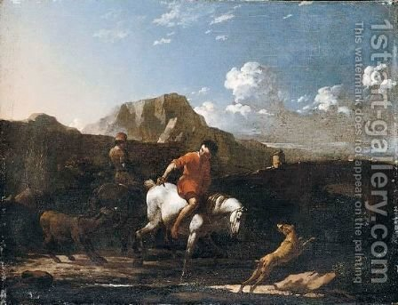 A Southern Landscape With A Boy Fording A Stream On A Grey Pony by (after) Karel Dujardin - Reproduction Oil Painting