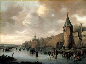 Famous paintings of Ice skating: A Winter Landscape With Figures Skating, Playing Kolf And Conversing On A Frozen River Outside The Walls Of A Fortified Town.