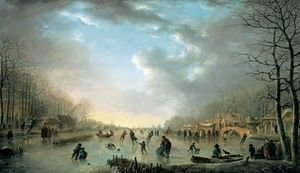 Famous paintings of Ice skating: Winter Landscape With A Frost Fair And Figures Skating Upon A Frozen River