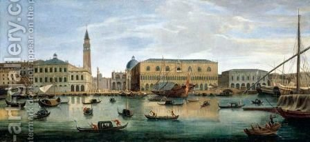 Venice, A View Of The Riva Degli Schiavoni With The Palazzo Ducale And The Piazzetta by (after) Caspar Andriaans Van Wittel - Reproduction Oil Painting