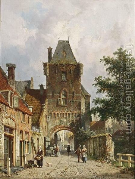 A View Of The Dijkpoort, Hattem by Adrianus Eversen - Reproduction Oil Painting