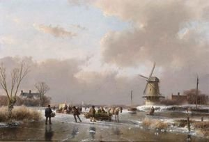 Famous paintings of Ice skating: Skaters On A Frozen River Near A  A'Koek En Zopie A'