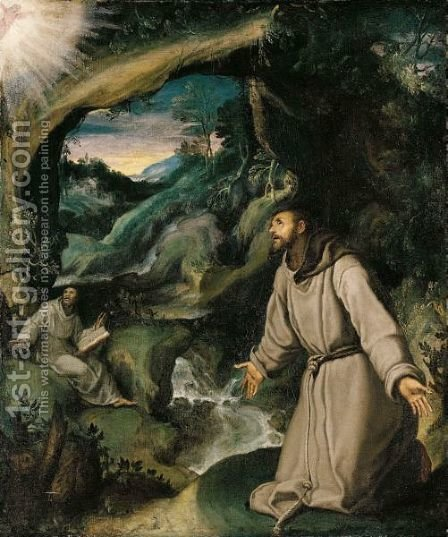 Saint Francis Receiving The Stigmata by (after) Girolamo Muziano - Reproduction Oil Painting