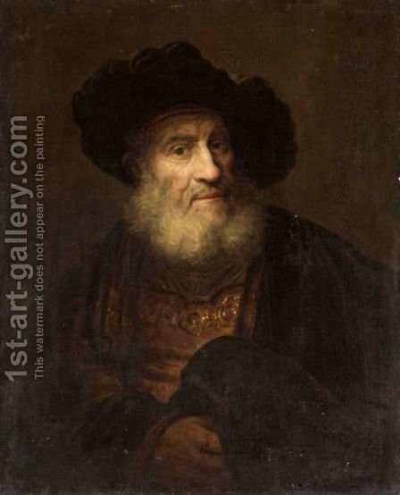 Portrait Of An Elderly Gentleman In Oriental Dress, Half Length by (after) Harmenszoon Van Rijn Rembrandt - Reproduction Oil Painting
