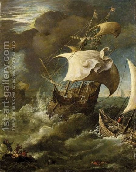 Shipping In A Storm by (after) Paul Bril - Reproduction Oil Painting