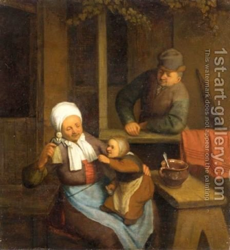 A Family At Play by (after) Adriaen Jansz. Van Ostade - Reproduction Oil Painting