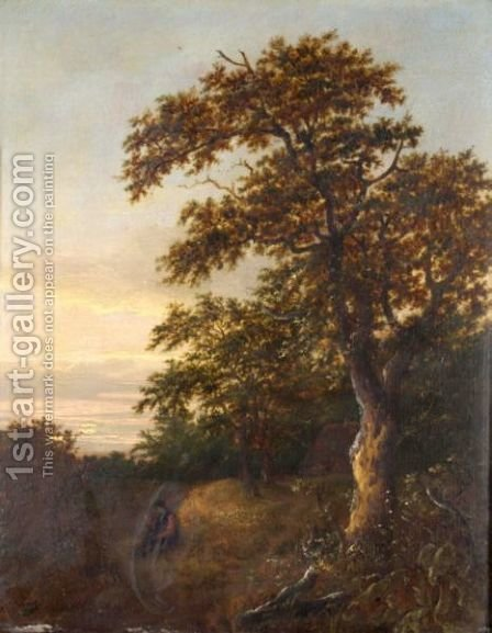 A Wooded Landscape With A Man Smoking by (after) Salomon Van Ruysdael - Reproduction Oil Painting