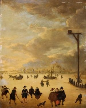 Famous paintings of Ice skating: A Winter Landscape With Elegant Figures Skating And Playing Kolf On A Frozen River
