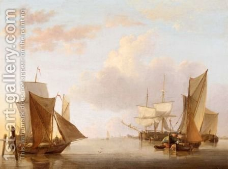 Dutch Shipping In Calm Coastal Waters by (after) Jan Van Os - Reproduction Oil Painting