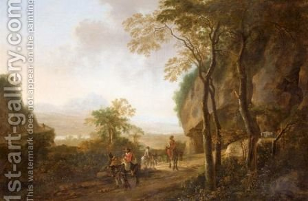 An Extensive River Landscape With Travellers On A Path In The Foreground by (after) Jan Both - Reproduction Oil Painting