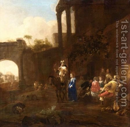 Riders And Elegant Women Drinking Outside An Inn, Some Classical Ruins In The Distance by (after) Jan Miel - Reproduction Oil Painting