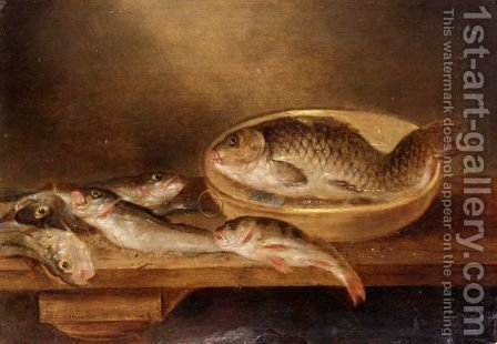 A Still Life Of Fish On A Wooden Table by Alexander Adriaenssen - Reproduction Oil Painting