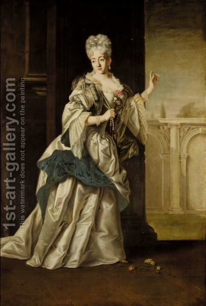 A Portrait Of A Noblewoman, Full Length, Standing In A Classical Palace And Wearing A White Satin Dress And Pearl Neclace by (after) Giovanni Maria Delle, Called Mulinaretto Piane - Reproduction Oil Painting