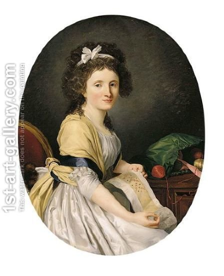 Portrait Of A Young Lady, Half Length, Seated By A Table, Holding Her Embroidery by (after) Henri-Pierre Danloux - Reproduction Oil Painting