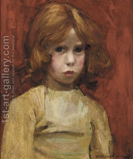 A Girl With Red Hair by Harrington Mann - Reproduction Oil Painting