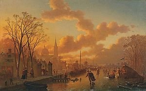 Famous paintings of Ice skating: Ice Skating In The Sunset