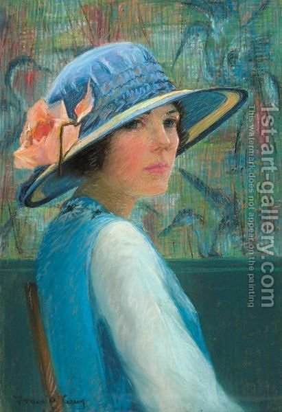 The Blue Hat by American School - Reproduction Oil Painting