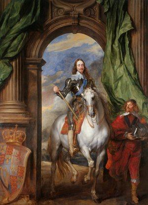 Famous paintings of Horses & Horse Riding: Equestrian Portrait Of King Charles I Accompanied By Monsieur De St. Antoine