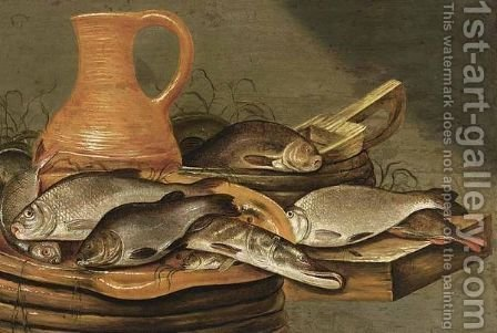 A Still Life With A Pike And Other Fish On A Strainer, With An Earthenware Jug by (after) Johannes Kuveenis - Reproduction Oil Painting