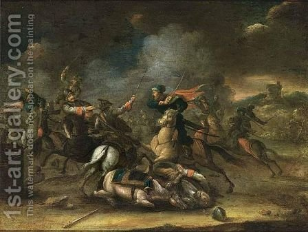 A Cavalry Battle Scene by (after) Karel Breydel - Reproduction Oil Painting