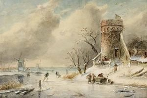 Famous paintings of Ice skating: A Winter Landscape With Skaters On The Ice 2