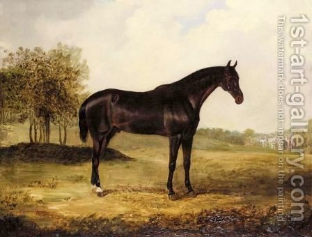 Bay Horse In A Landscape by Henry Calvert - Reproduction Oil Painting