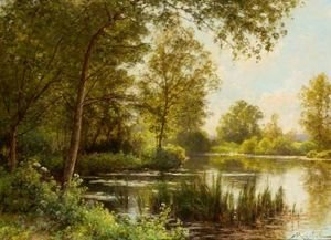 Reproduction oil paintings - Albert Gabriel Rigolot - The River Bank In Summer