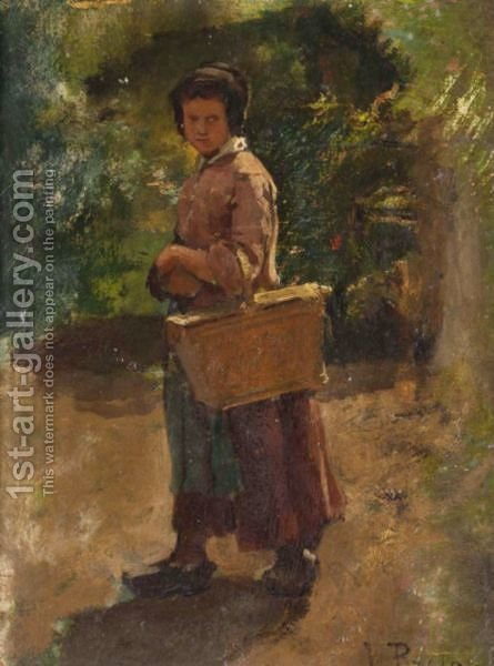La Paysanne by (after) Ules (Adolphe Aime Louis) Breton - Reproduction Oil Painting