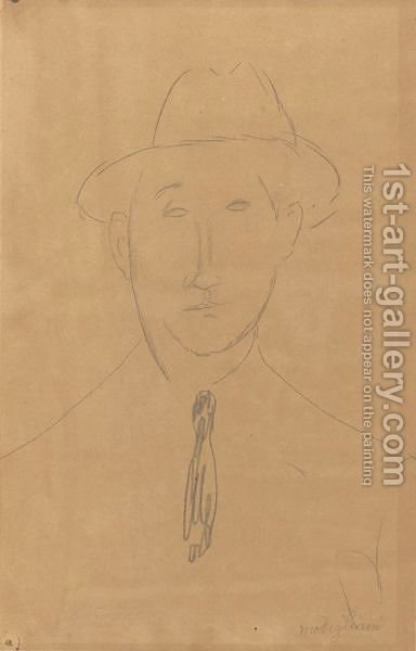 Homme Au Chapeau 2 by Amedeo Modigliani - Reproduction Oil Painting