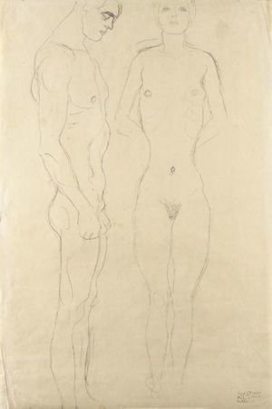 Reproduction oil paintings - Gustav Klimt - Athlet Im Profil Nach Rechts, Frauenakt Von Vorne (Athlete In Profile Facing Right, Female Nude Seen From The Front)