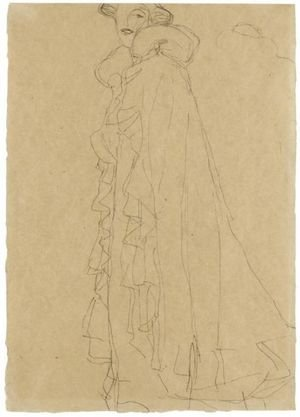 Reproduction oil paintings - Gustav Klimt - Stehend Nach Links, Skizze Des Kragens Von Hinten (Standing Turned To The Left, Sketch Of The Collar From Reverse)