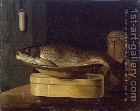 Still Life Of A Carp In A Bowl Placed On A Wooden Box, All Resting On A Table by (after) Sebastien Stoskopff - Reproduction Oil Painting