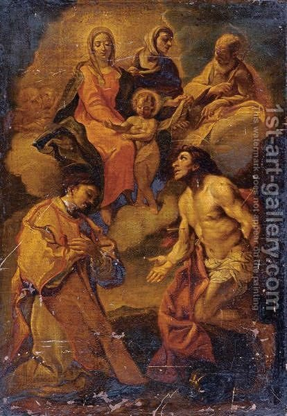Saints Stephen And Sebastian With The Madonna And Child Above by (after) Carlo Maratta Or Maratti - Reproduction Oil Painting