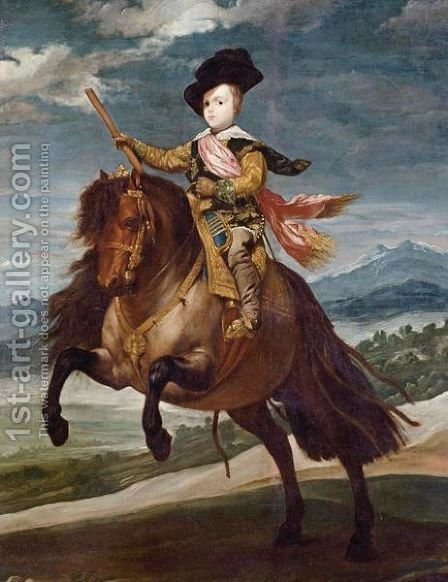 Equestrian Portrait Of Balthasar Carlos by (after) Diego Rodriguez De Silva Y Velazquez - Reproduction Oil Painting