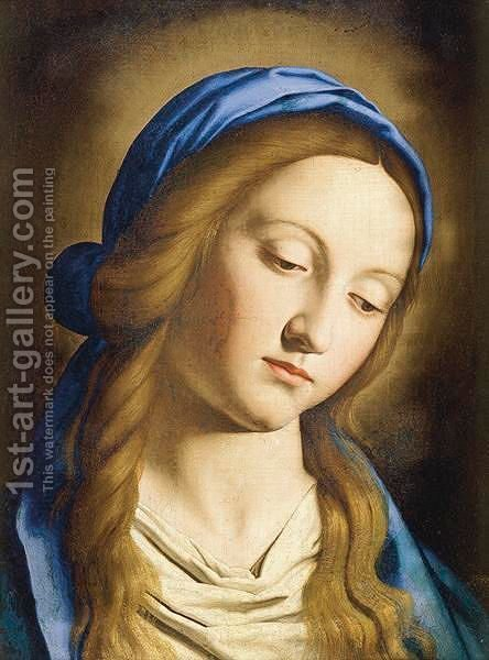 Head Of The Madonna 2 by Giovanni Battista Salvi, Il Sassoferrato - Reproduction Oil Painting