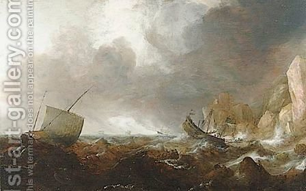 Fishing Boats In A Stormy Sea by (after) Simon De Vlieger - Reproduction Oil Painting