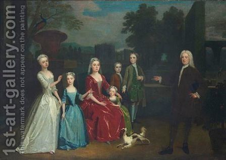 Portrait Of A Family by (after) Charles Phillips - Reproduction Oil Painting