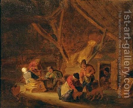 Peasants Carousing In A Barn by (after) Adriaen Jansz. Van Ostade - Reproduction Oil Painting