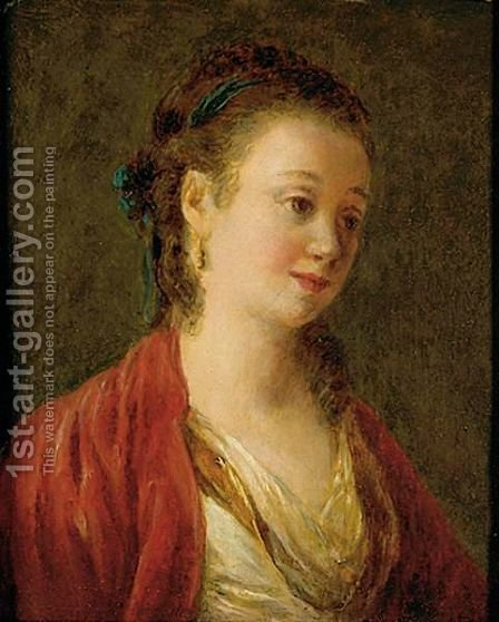 Portrait Of An Elegant Lady In Near Eastern Dress by (after) Jean Baptiste Leprince - Reproduction Oil Painting