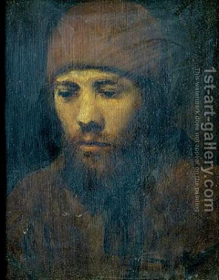 Portrait Of A Bearded Young Man Wearing A Cap by (after) Harmenszoon Van Rijn Rembrandt - Reproduction Oil Painting