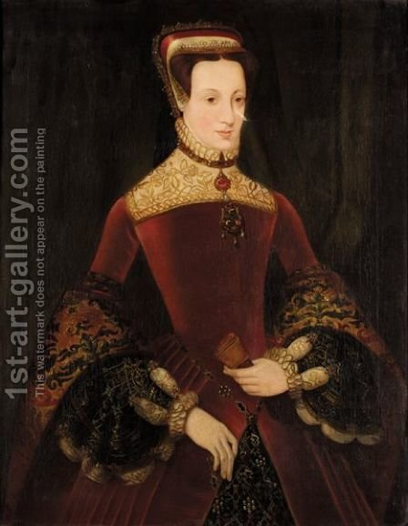 Portrait Of Mary Queen Of Scots by (after) Eworth or Ewoutsz, Hans - Reproduction Oil Painting