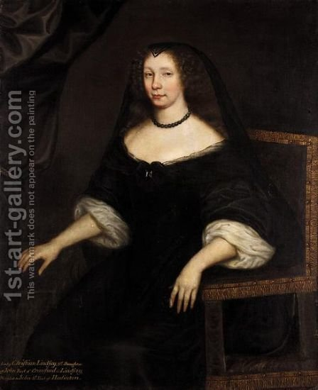 Portrait Of Lady Christian Lindsay, Wife Of John, 4th Earl Of Haddington by (after) David Scougall - Reproduction Oil Painting