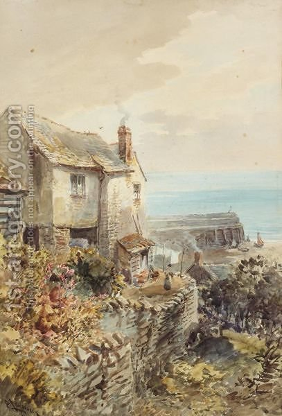 A Pair Of Scenes Of Clovelly, North Devon by Alfred Leyman - Reproduction Oil Painting