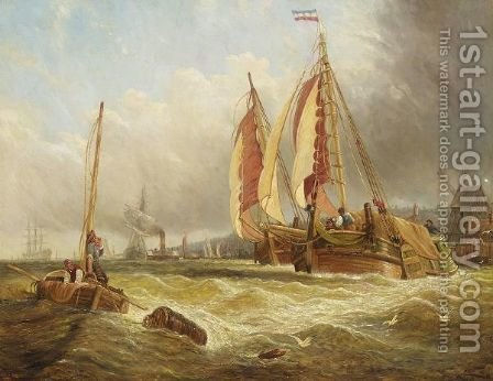 Busy Coastal Scene by (after) George Clarkson Stanfield - Reproduction Oil Painting