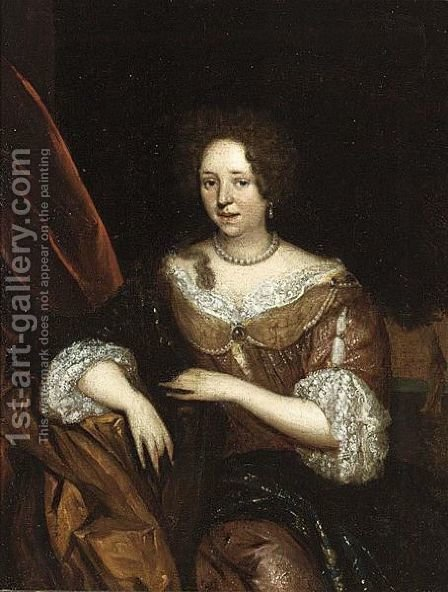 A Portrait Of An Elegant Lady, Seated Three-Quarter Length, Wearing A Yellow Dress With A Lace Collar And Sleeves And A Pearl Necklace by (after) Roelof Koets II - Reproduction Oil Painting