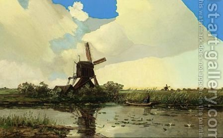 A Windmill And Anglers In A Polder Landscape by Hendrik-Dirk Kruseman van Elten - Reproduction Oil Painting